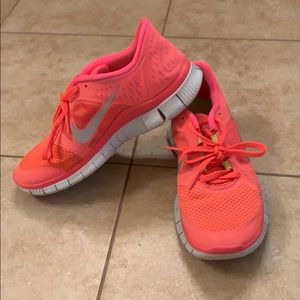 Nike Free Runs in bright coral!!